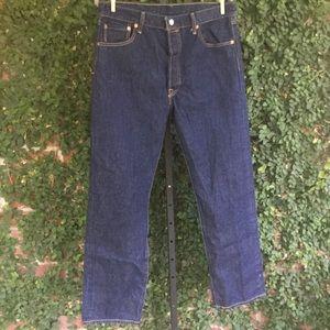Levi's 501 Button Fly Dark Wash Jeans 36 x 34